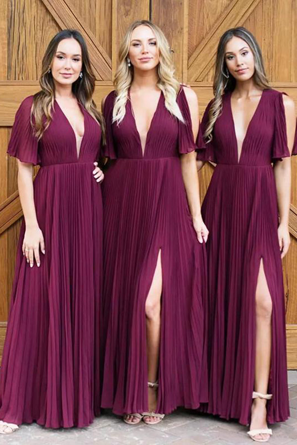 Cheap Sleeveless Chiffon V Neck Floor Length Bridesmaid Dress B428