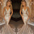 Golden Trumpet Court Train Deep V Neck Sleeveless Sparkle Long Prom Dress,Party Dress P208