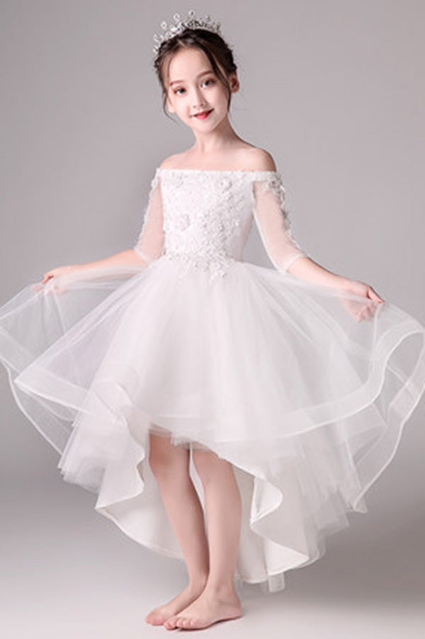 Cute Off The Shoulder High Low Half Sleeves Tulle Flower Girl Dresses F79
