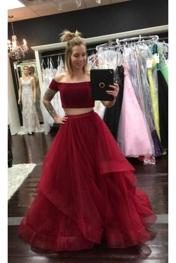 Simple Burgundy Two Piece A Line Prom Dress with Ruffles P870