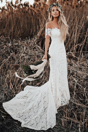 9122251141 Charming Mermaid Off The Shoulder Short Sleeves Lace Appliques Vintage  Wedding Dress W422