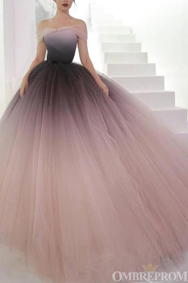 Chic Ombre Tulle Off The Shoulder Modest Ball Gown Princess Prom Dresses For Teens Quinceanera Dresses D153