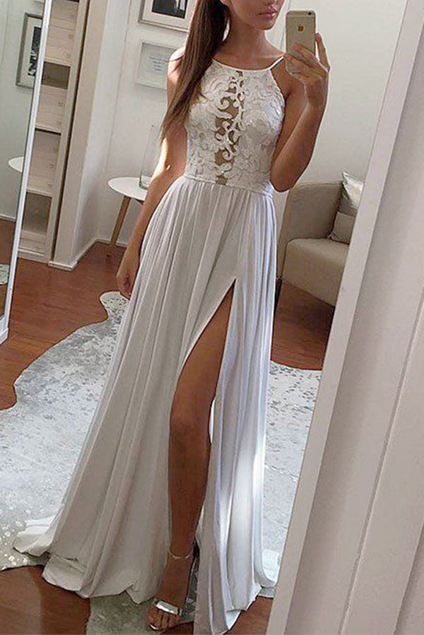 Simple Chiffon Lace Halter Prom Dress with Split Side Long Party Dress P891