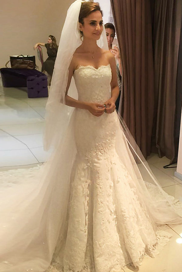 f805892be66a0 Elegant Mermaid Sweetheart Sleeveless Beading Lace Appliques Wedding Dresses  W463
