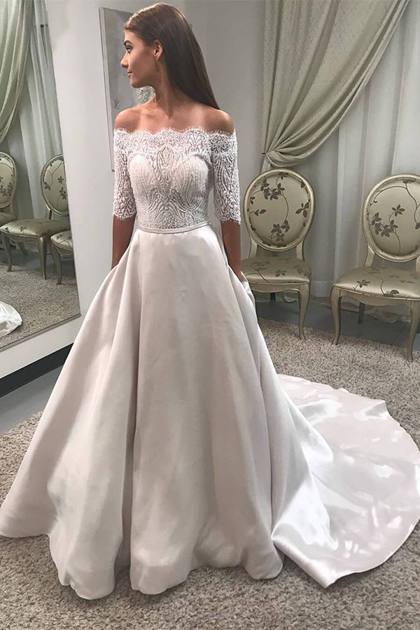 Delicate Lace Off the Shoulder Half Sleeves Sweep Train Long Wedding Dress W437