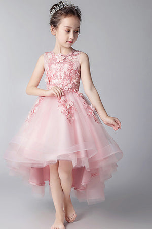 50c60d3bd40 Elegant Round Neck High Low Sleeveless Tulle With Appliques Flower Girl  Dresses F78