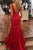 Sex Red V Back Trumpet Sleeveless Sweep Trailing Prom Dress P692