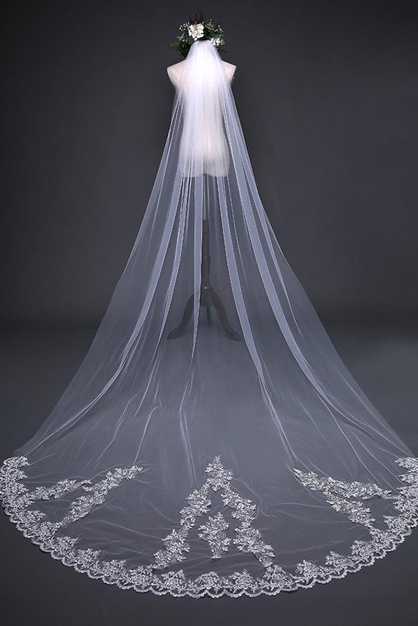 Beautiful Lace Appliques Tulle Long Wedding Veil V36 - Ombreprom