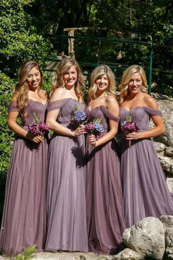 Impressive Tulle Off the Shoulder Sweetheart Bridesmaid Dress B401