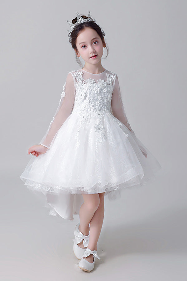Cheap Round Neck Long sleeves Appliques With Beaded High Low Flower Girl Dresses F81