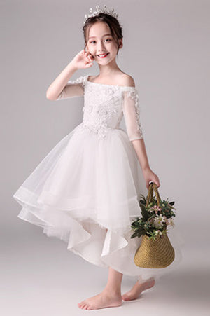 5043042c833 Cute Off The Shoulder High Low Half Sleeves Tulle Flower Girl Dresses F79