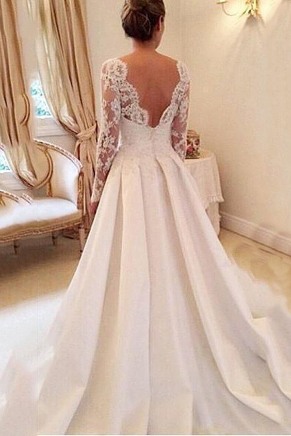 Elegant Round Neck V Back Long Sleeves Sequins Lace Appliques Wedding Dress W397