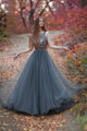 Impressive Tulle Round Neck V Back Sleeveless With Bowknot Prom Dress P804