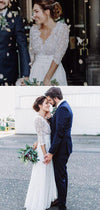 Simple Lace Appliques V Neck Long Sleeves Beach Wedding Dresses W367