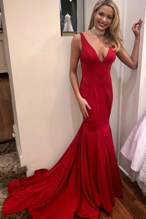 05c2f962770 Sex Red V Back Trumpet Sleeveless Sweep Trailing Prom Dress P692 ...