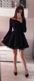 Charming Black Off the Shoulder Long Sleeves A Line Homecoming Dress M632 - Ombreprom