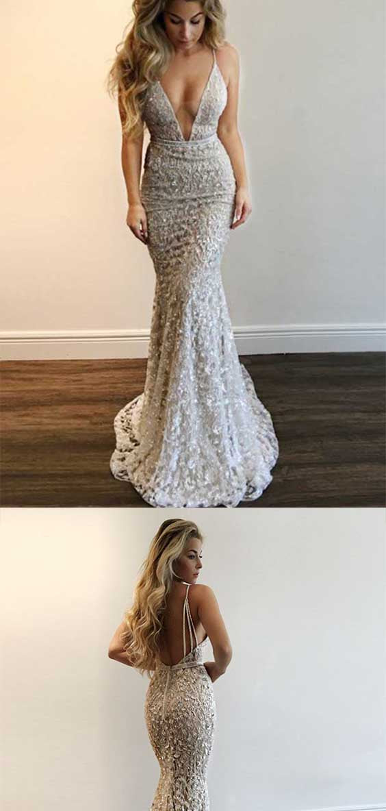 Elegant Deep V Neck Spaghetti Straps Sequins Floor Length Prom Dress P650