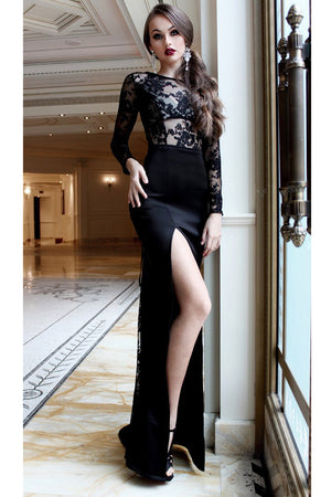 Black Round Neck Lace Party Dress Long Prom Dress with Long Sleeves Split Side P896