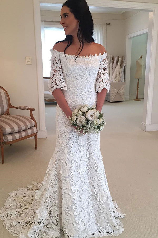 Classy Half Sleeve Off the Shoulder Lace Wedding Dress W297 - Ombreprom