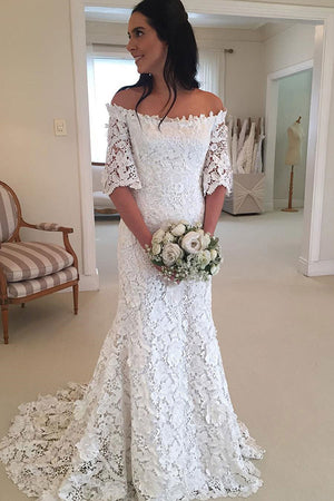 13d769cc02 Classy Half Sleeve Off the Shoulder Lace Wedding Dress W297 – Ombreprom
