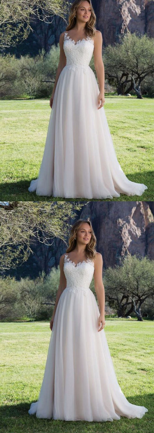 Charming Tulle Lace Sweetheart With Appliques Wedding Dress W316 - Ombreprom
