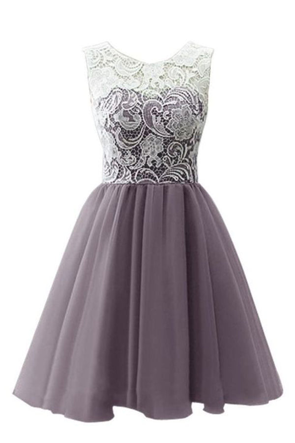 Elegant A-Line Round Neck Sleeveless Lace Homecoming Dress M473