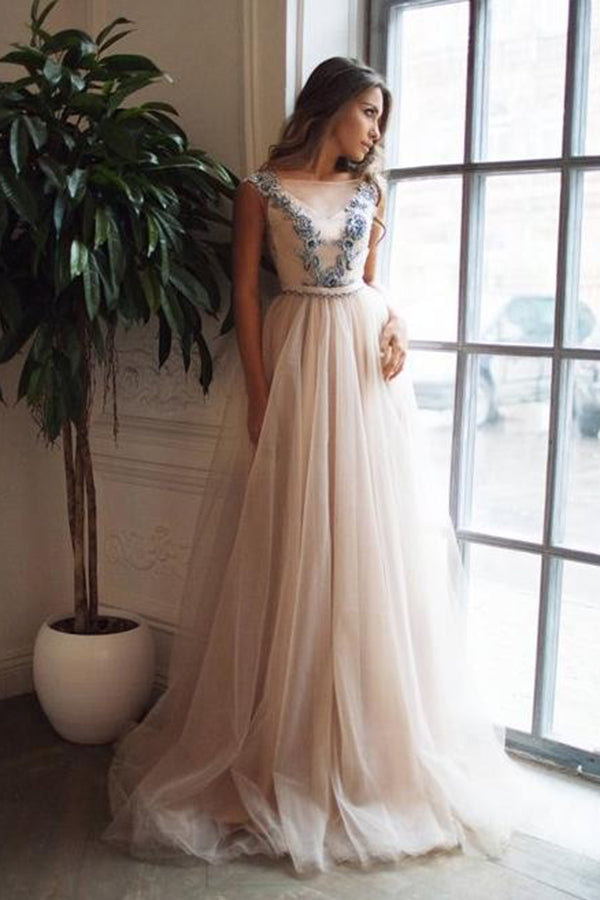 Romantic Sleeveless A Line Appliques Sweep Train Tulle Backless Prom Dress P829