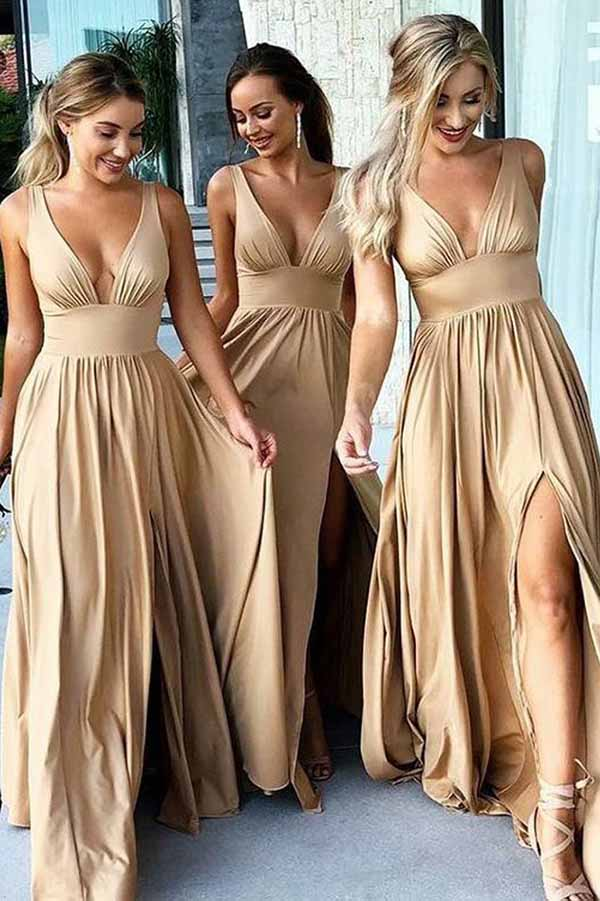 Chic Champagne V Neck Backless Split Elastic Long Bridesmaid Dress B383