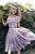 Gorgeous Appliques Round Neck Short Sleeves Organza Homecoming Dress M586
