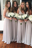Cheap Sleeveless Chiffon V Neck Floor Length Bridesmaid Dress B427