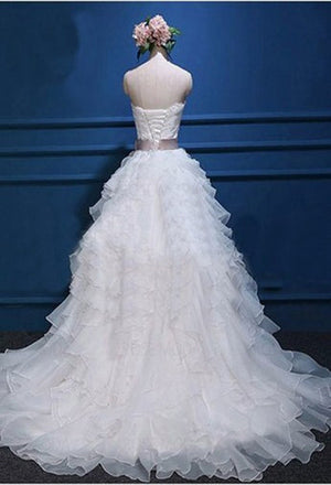 Affordable Popular Chiffon Sweetheart Top Cute Lace Wedding Dresses W29 - Ombreprom