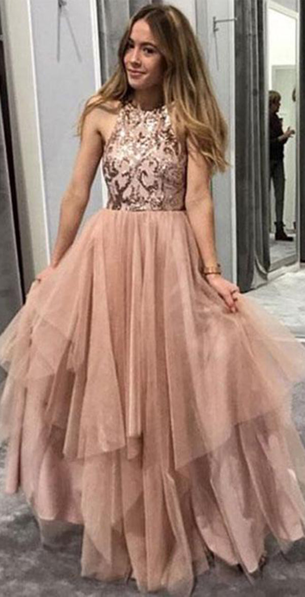 Gorgeous Round Neck Sleeveless Tulle With Sequins Prom Dress P671