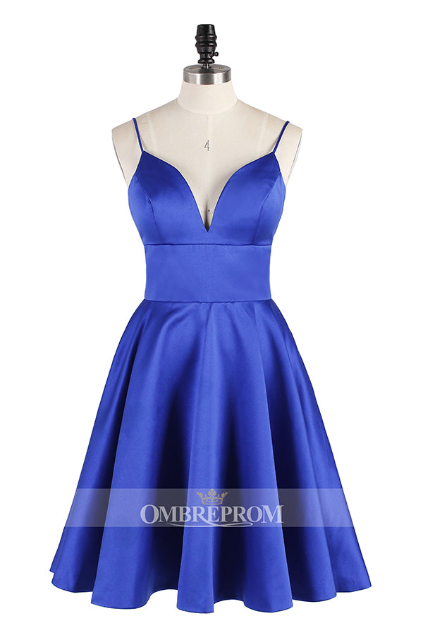 Chic Straps Sweetheart Knee Length Satin A-line Homecoming Dresses M467 - Ombreprom
