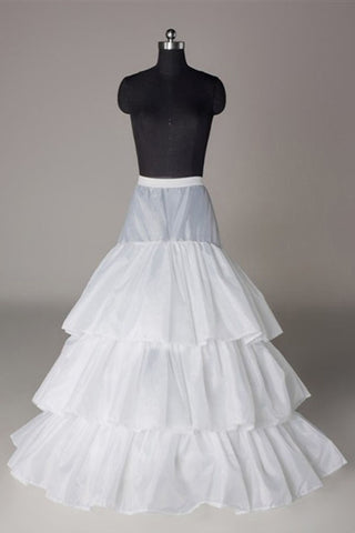 Simple Nylon A-Line 3 Tier Floor Length Slip Style Wedding Petticoats P07