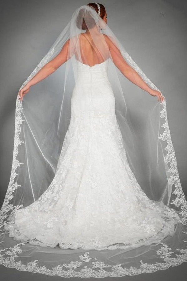 One Tier Lace Appliques Edge Cathedral Veil Long Wedding Veils V24
