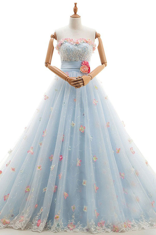 Charming Light Blue Tulle Sweetheart Ball Gown Court Train Wedding Dress W408 - Ombreprom
