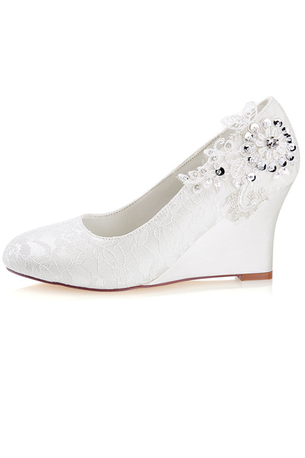 Charming High Heel With Lace Appliques Women Wedding Shoes S12 - Ombreprom
