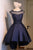 Elegant A Line Satin Knee Length With Applique Homecoming Dress M483