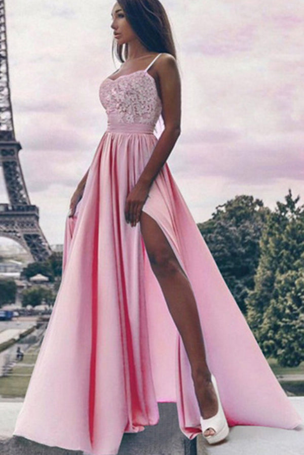 Chic Spaghetti Straps Sleeveless Sweetheart Lace Prom Dress with Appliques P895