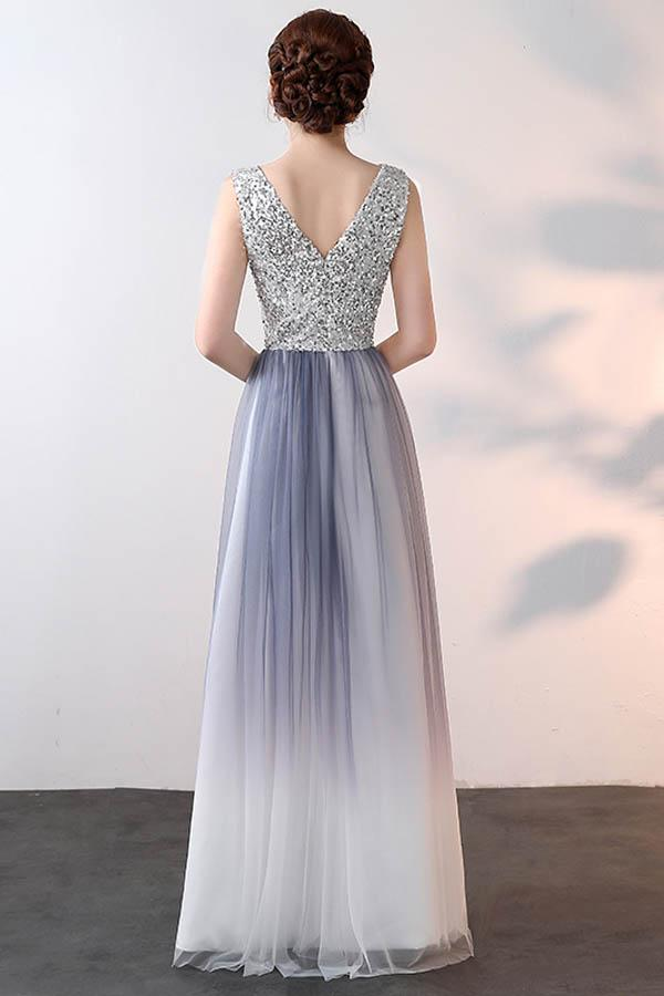 Simple A Line V Back Ombre With Sequins Prom Dress P705