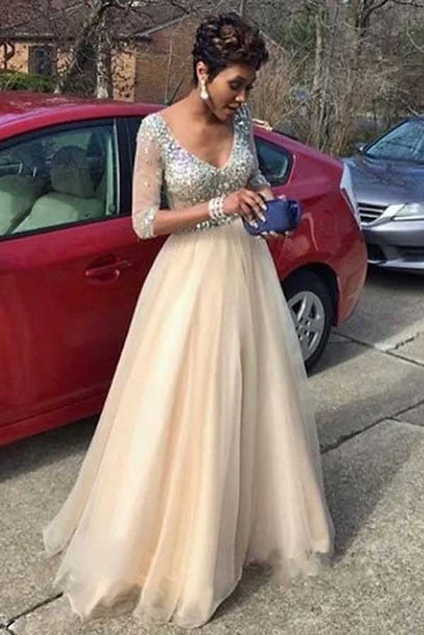 Elegant 3/4 Sleeves V Neck Tulle With Beading Prom Dress P714