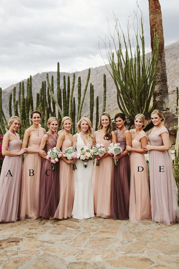 A Line Floor Length Sleeveless Layers Tulle Cheap Bridesmaid Dress B206 - Ombreprom