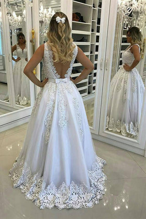 Delicate Deep V Neck Sweep Train Appliques Beaded Wedding Dresses W361