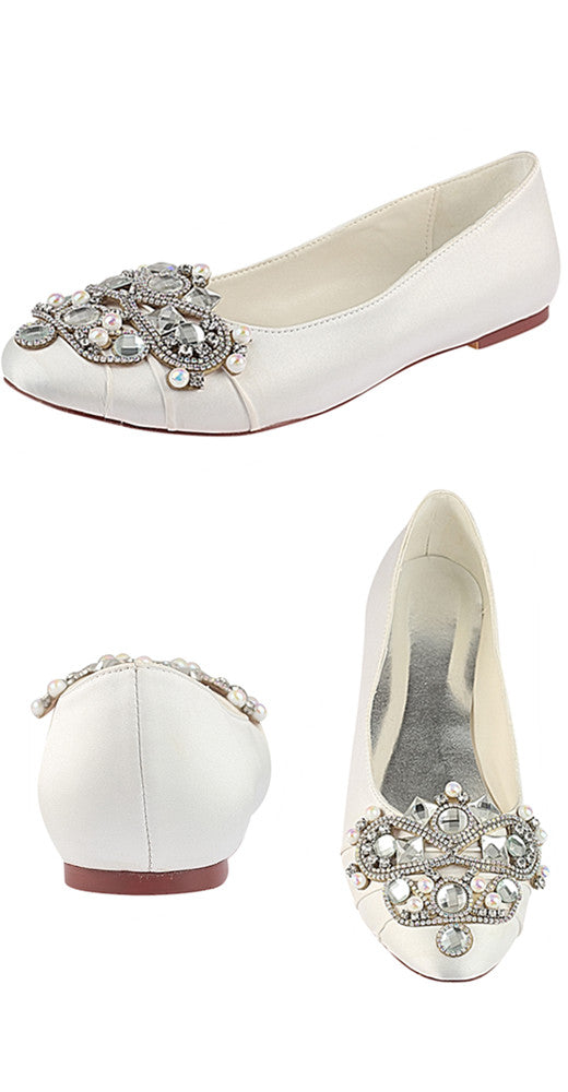 Comfortable Satin Flat With Beading Women Wedding Shoes Party Shoes S10
