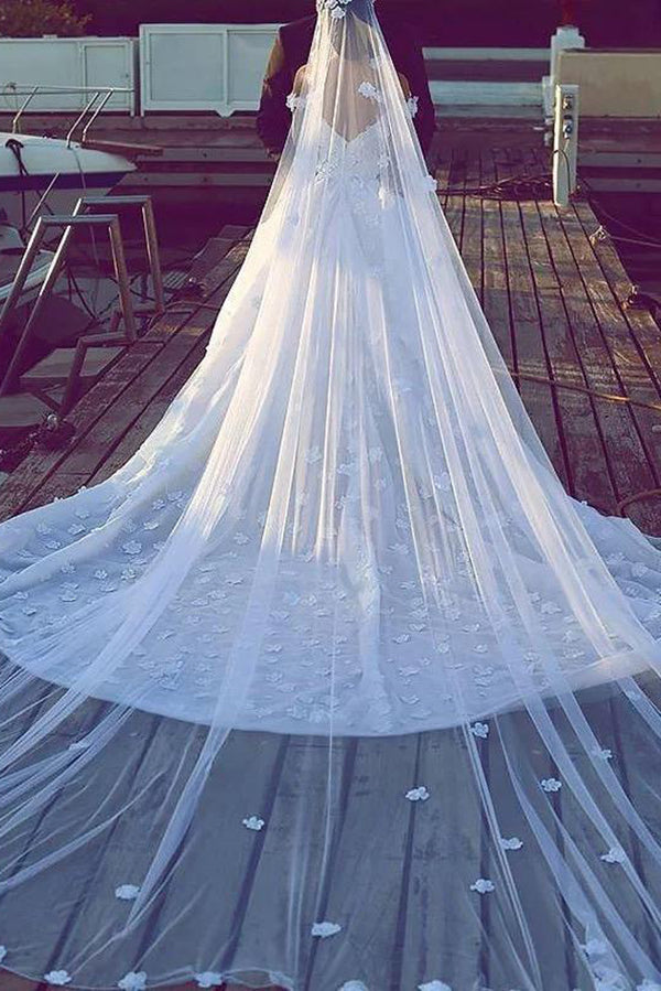Elegant Chapel Veils Lace Appliques Long Wedding Veils V22