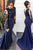 Charming Mermaid Long Sleeves Navy Blue Trumpet Lace Appliques Prom Dress P772 - Ombreprom