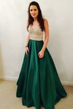 A Line Sleeveless V Neck Floor Length Satin Prom Dress with Beading P840