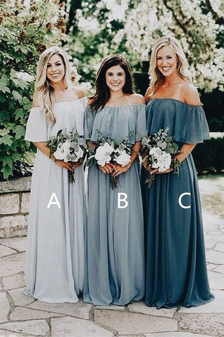 Beauty Off the Shoulder Chiffon Custom Long  Bridesmaid Dresses B356 - Ombreprom