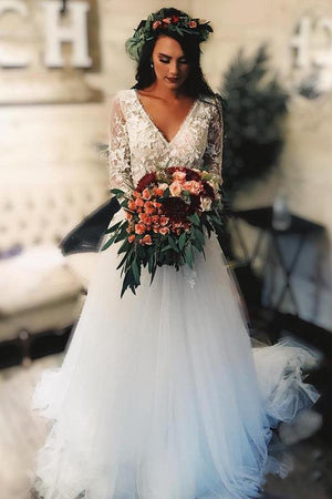 d58e47b68796 Delicate A Line Tulle Long Sleeves V Neck Lace Appliques Wedding Dress W429