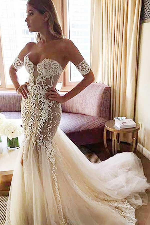 Sparkly Sweetheart Mermaid Backless Court Train Wedding Dresses W458